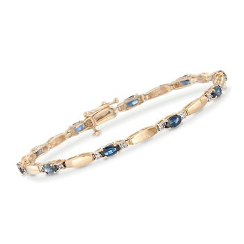 3.50 ct. t.w. Sapphire and .10 ct. t.w. Diamond Bracelet in 14kt Yellow Gold, , default