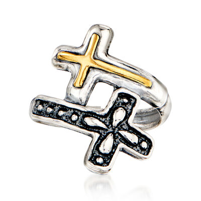Sterling Silver Double-Cross Bypass Ring with 14kt Yellow Gold