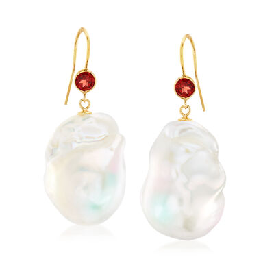 14-16mm Cultured Baroque Pearl and .60 ct. t.w. Garnet Drop Earrings in 14kt Yellow Gold