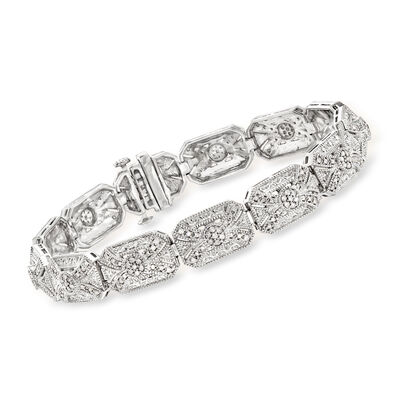1.00 ct. t.w. Diamond Vintage-Inspired Bracelet in Sterling Silver