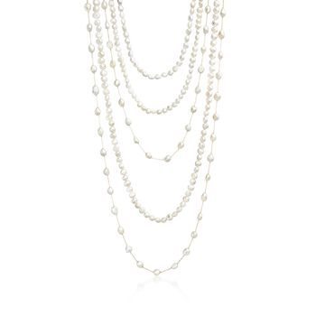 "Set of Five 7-10mm Cultured Pearl Endless Necklaces With 14kt Yellow Gold. 24-48"", , default"