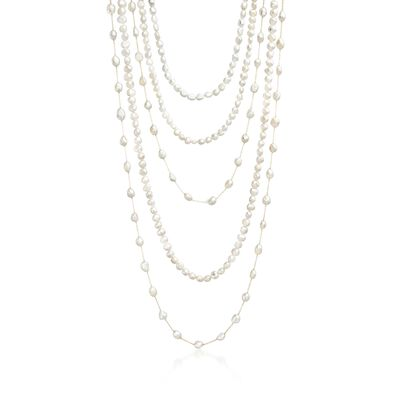 Set of Five 7-10mm Cultured Pearl Endless Necklaces With 14kt Yellow Gold, , default