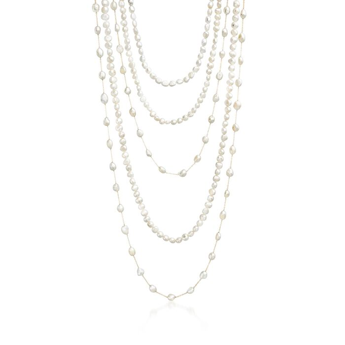 """Set of Five 7-10mm Cultured Pearl Endless Necklaces with 14kt Yellow Gold. 24-48"""", , default"""