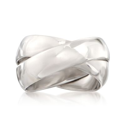 Italian Sterling Silver Two-Band Rolling Ring, , default