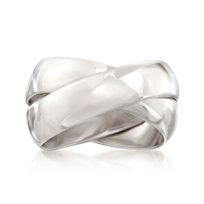 Italian Sterling Silver Two-Band Rolling Ring. Size 5, , default