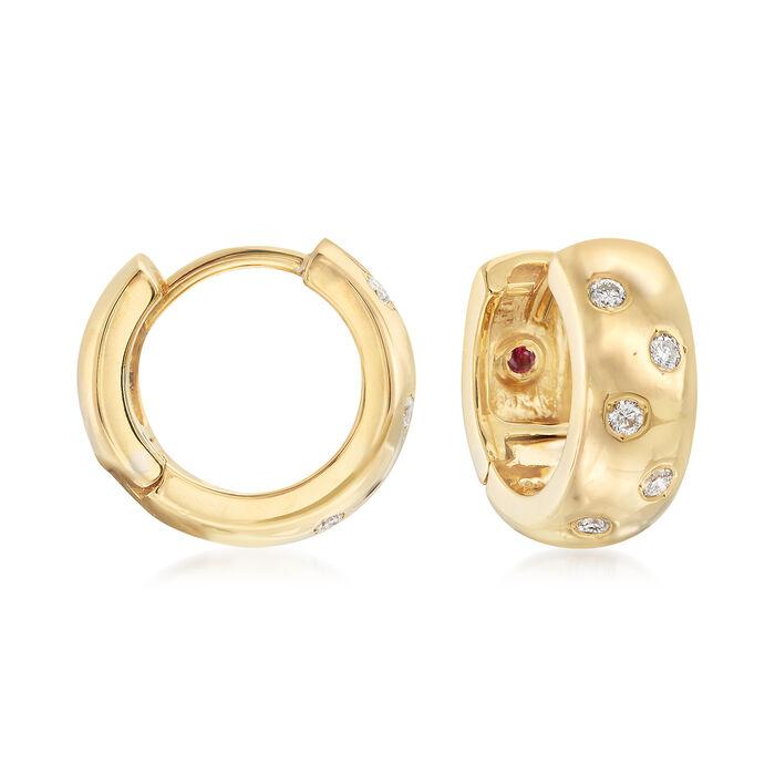 """Roberto Coin .14 ct. t.w. Diamond Huggie Hoop Earrings in 18kt Yellow Gold. 1/2"""", , default"""