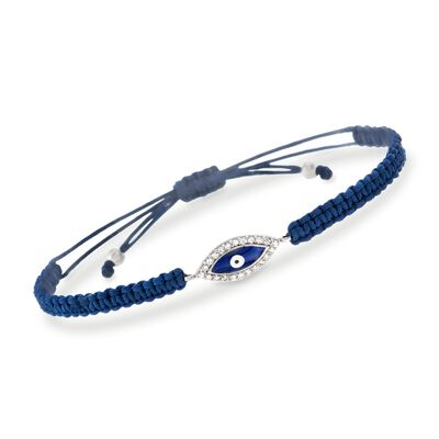 .33 ct. t.w. CZ Evil Eye and Blue Macrame Bracelet with Enamel in Sterling Silver, , default