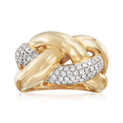.63 ct. t.w. Diamond Braided Ring in 14kt Yellow Gold, , default