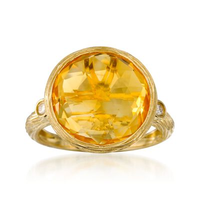 9.00 Carat Citrine Ring with Diamonds in 14kt Yellow Gold, , default