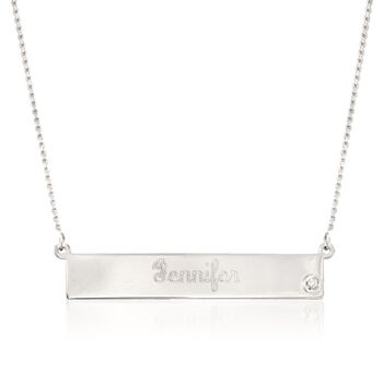 """Sterling Silver Name Bar Necklace With CZ Accent. 16"""", , default"""