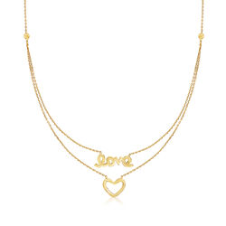 Heart and Love Layered Script Necklace in 14kt Yellow Gold, , default