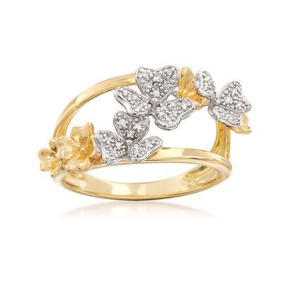 .10 ct. t.w. Diamond Floral Ring in 18kt Yellow Gold Over Sterling
