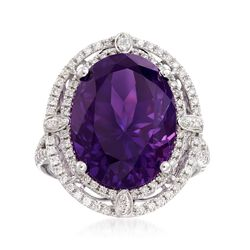 10.00 Carat Amethyst and .66 ct. t.w. Diamond Ring in 14kt White Gold, , default