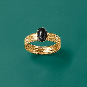 Italian Black Onyx Mesh Stretch Ring in 14kt Yellow Gold, , default