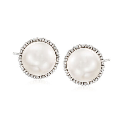 13-14mm Cultured Pearl and .35 ct. t.w. Diamond Earrings in Sterling Silver, , default