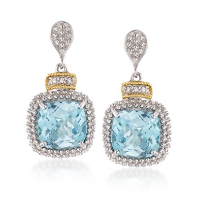 "Phillip Gavriel ""Popcorn"" 7.00 ct. t.w. Blue Topaz and .16 ct. t.w. Diamond Drop Earrings in Sterling Silver and 18kt Gold, , default"