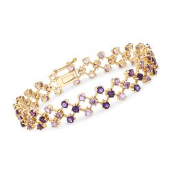 "7.00 ct. t.w. Pink and Purple Amethyst Bracelet in 14kt Yellow Gold Over Sterling Silver. 8"", , default"