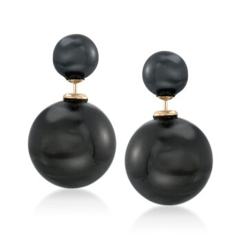 8-16mm Black Shell Pearl Front-Back Earrings in 14kt Yellow Gold, , default