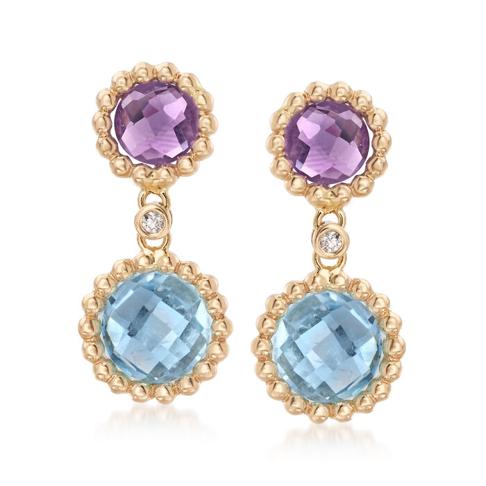 4.10 ct. t.w. Blue Topaz and 1.40 ct. t.w. Amethyst Drop Earrings in 14kt Yellow Gold