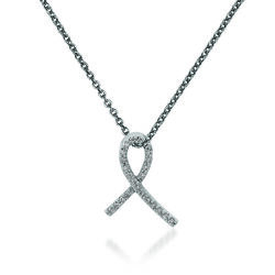 "Diamond-Accented Breast Cancer Awareness Pendant Necklace in 14kt White Gold. 18"", , default"