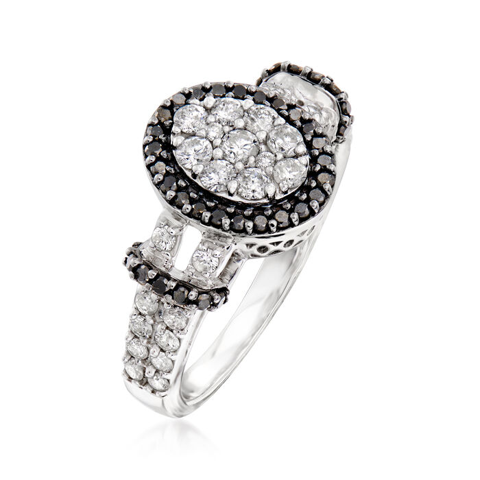 1.05 ct. t.w. Black and White Diamond Ring in 14kt White Gold