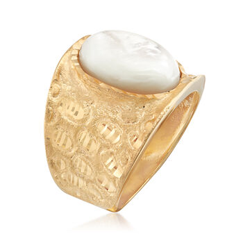 Italian Mother-Of-Pearl Diamond-Cut Ring in 18kt Gold Over Sterling, , default