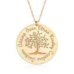 14kt Yellow Gold Personalized Family Tree Pendant Necklace, , default