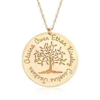 """14kt Yellow Gold Personalized Family Tree Pendant Necklace. 18"""", , default"""