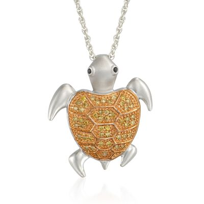 .24 ct. t.w. Yellow Diamond Turtle Pendant Necklace in Sterling Silver, , default