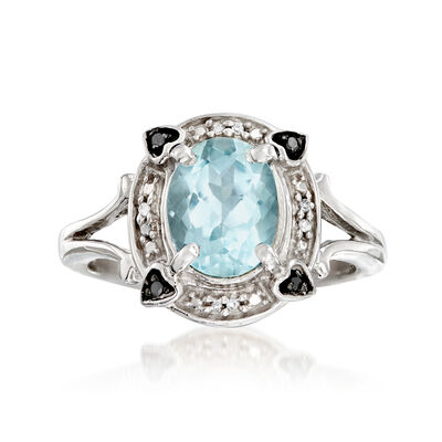 1.60 Carat Aquamarine Ring with Black and White Diamond Accents in Sterling Silver