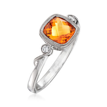 C. 2000 Vintage .95 Carat Citrine Ring with Diamond Accents in 14kt White Gold. Size 7