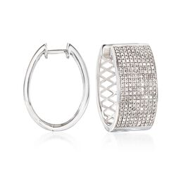 ".25 ct. t.w. Diamond Hoop Earrings in 14kt White Gold. 1/2"", , default"