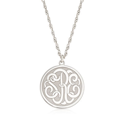 Sterling Silver Script Monogram Circle Pendant Necklace, , default