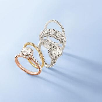 Henri Daussi .15 ct. t.w. Pave Diamond Wedding Ring in 18kt White Gold, , default