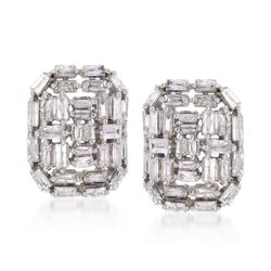 .99 ct. t.w. Baguette Diamond Woven Earrings in 14kt White Gold, , default
