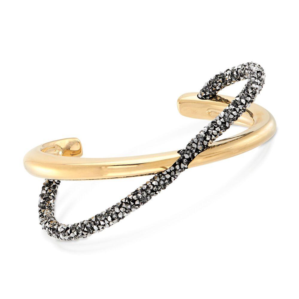 """922fe083b Swarovski Crystal """"Crystaldust"""" Metallic Gray Crystal Cross Cuff  in Gold Plate."""