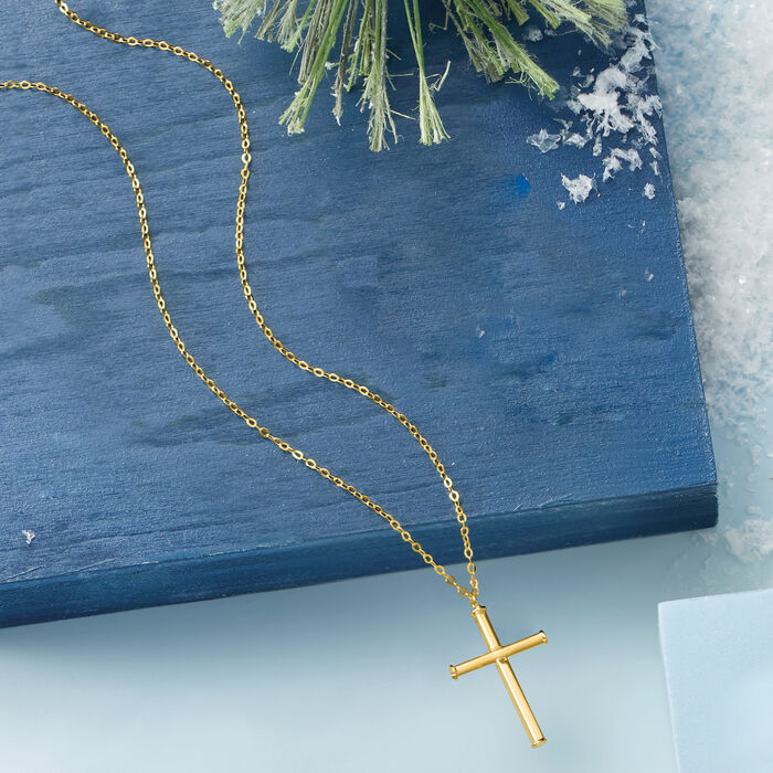 Italian Cross Necklace in 14kt Yellow Gold