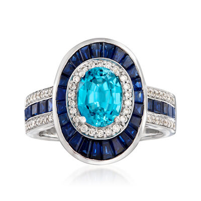 1.90 Carat Blue Zircon and 1.60 ct. t.w. Sapphire with .29 ct. t.w. Diamond Ring in 14kt White Gold, , default