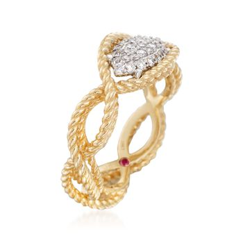 "Roberto Coin ""Barocco"" .24 ct. t.w. Diamond Braided Ring in 18kt Yellow Gold. Size 6.5, , default"