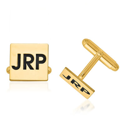 14kt Yellow Gold Square Monogram Cuff Links with Collegiate Blue Enamel, , default
