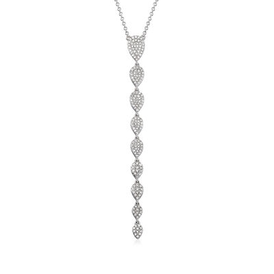 .51 ct. t.w. Pave Diamond Linear Drop Necklace in 18kt White Gold, , default