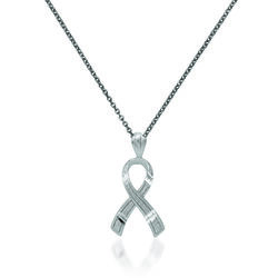 "14kt White Gold Breast Cancer Awareness Pendant Necklace. 18"", , default"