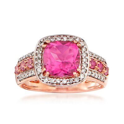 3.00 Carat Pink Topaz, .25 ct. t.w. Diamond and .20 ct. t.w. Pink Tourmaline Ring in 14kt Rose Gold