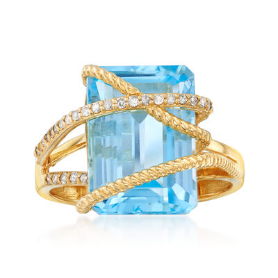 9.25 Carat Blue Topaz and .15 ct. t.w. Diamond Crisscross Ring in 14kt Yellow Gold, , default
