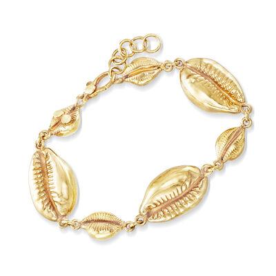 Italian 18kt Gold Over Sterling Puka Shell Bracelet, , default
