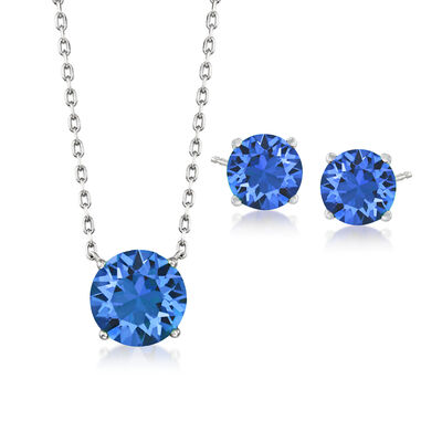 Swarovski Crystal Jewelry Set: Dark Blue Necklace and Earrings in Sterling Silver, , default