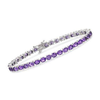 12.00 ct. t.w. Amethyst Tennis Bracelet in Sterling Silver, , default