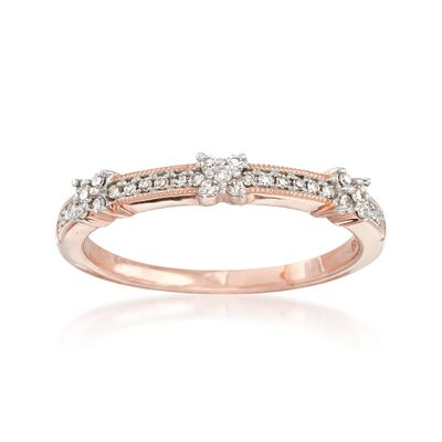 .15 ct. t.w. Diamond X Ring in 14kt Rose Gold, , default