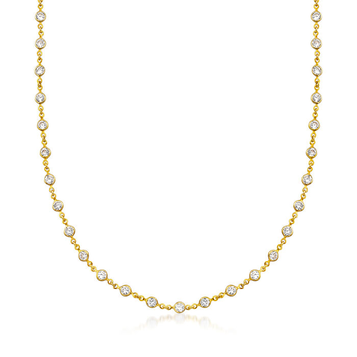 29.50 ct. t.w. CZ Station Multi-Strand Necklace in 14kt Gold Over Sterling, , default