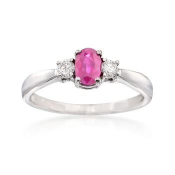 .65 Carat Ruby and .18 ct. t.w. Diamond Ring in 14kt White Gold, , default